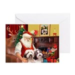 Santa's 2 Bearded Collie Greeting Cards (Pk of 10)