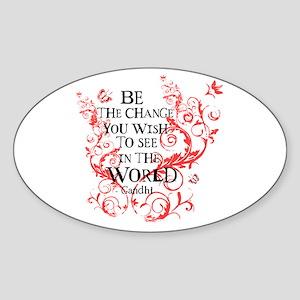 Gandhi Vine - Be the change - Maroon Sticker (Oval