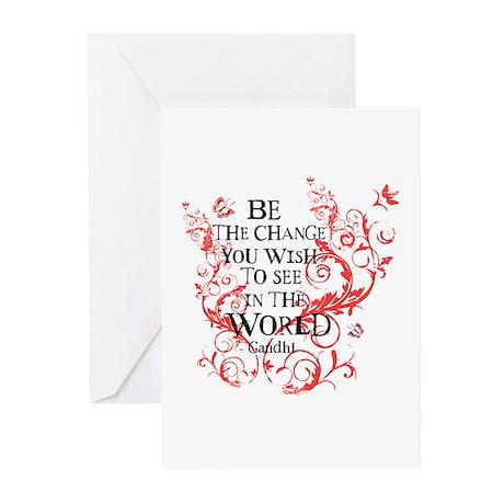 Gandhi Vine - Be the change - Maroon Greeting Card