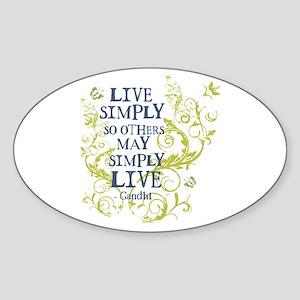 Gandhi Vine - Live Simply - Blue & Green Sticker (