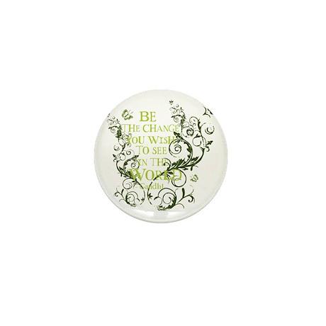 Gandhi Vine - Be the change - Green Mini Button (1