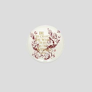 Gandhi Vine - Be the change - Burgundy Mini Button