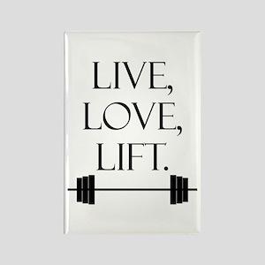 Live, Love, Lift Rectangle Magnet