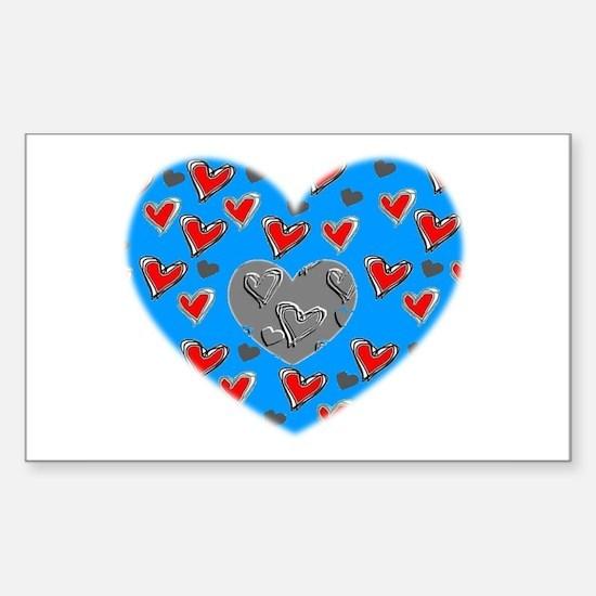 BLUE HEART Rectangle Decal