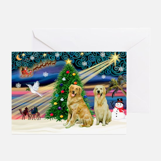 Xmas Magic/2 Goldens Greeting Cards (Pk of 20)
