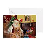 Santa's Golden Retriever Greeting Cards (Pk of 10)