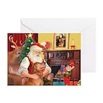 Santa's Golden (#3) Greeting Cards (Pk of 10)
