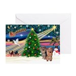 XmasMagic/2Yorkies (Pr1) Greeting Card