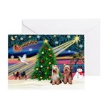 Xmas Magic/2Yorkies Greeting Card