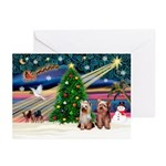 Xmas Magic/2Yorkies Greeting Cards (Pk of 10)