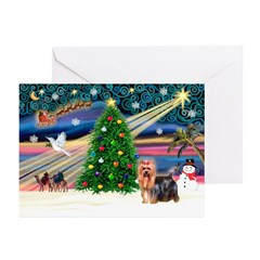 Xmas Magic/Yorkie (#9) Greeting Cards (Pk of 10)