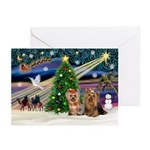 XmasMagic/2 Yorkies (P3) Greeting Cards (Pk of 20)