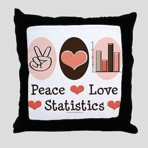 Peace Love Statistics Statistician Throw Pillow