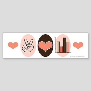 Peace Love Statistics Statistician Sticker (Bumper