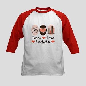 Peace Love Statistics Kids Baseball Jersey