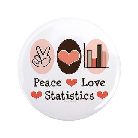 "Peace Love Statistics 3.5"" Button (100 pack)"