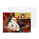 Santa's Westie pair Greeting Cards (Pk of 10)
