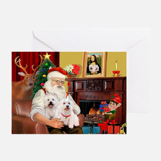 Santa's Westie pair Greeting Cards (Pk of 20)
