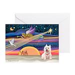 Xmas Star & Westie Greeting Cards (Pk of 10)