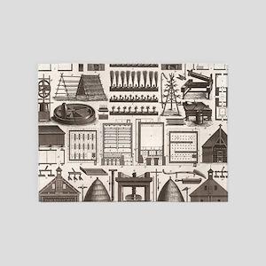 farm illustration agricultural barn 5'x7'Area Rug
