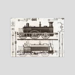 mechanical engineer steampunk train 5'x7'Area Rug