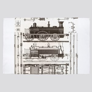 mechanical engineer steampunk train 4' x 6' Rug