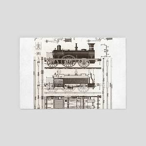 mechanical engineer steampunk train 4' x 6' Rug