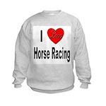 I Love Horse Racing (Front) Kids Sweatshirt