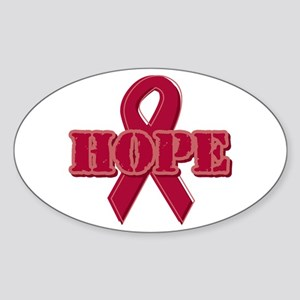 Burgundy Hope Ribbon Oval Sticker