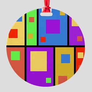 Geometric Retro Squares Design Round Ornament