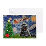 Starry Xmas / Cocker (bl) Greeting Card