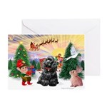 Santa's Take Off/Cocker (bl) Greeting Card
