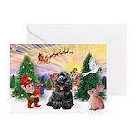 Santa's Take Off/Cocker(bl) Greeting CardsPk of 20