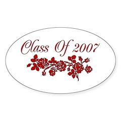 Red Rose 2007 Graduate Oval Sticker (10 pk)