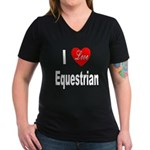 I Love Equestrian (Front) Women's V-Neck Dark T-Sh