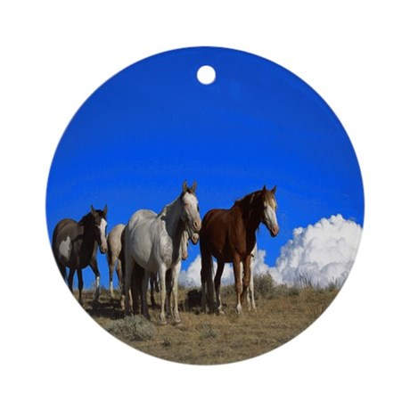 Horses under clear blue sky Ornament (Round)