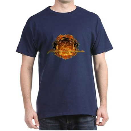 Firefighter with Round Flame Dark T-Shirt