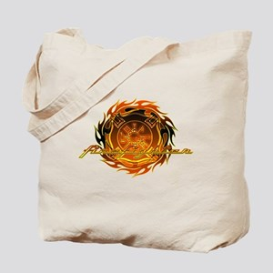 Firefighter with Round Flame Tote Bag