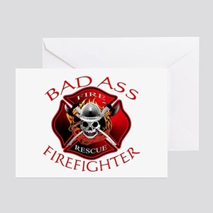 Bad Ass Firefighter Greeting Cards (Pk of 10)