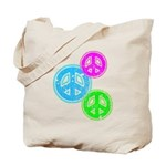 Glowing colorful Peace Signs Tote Bag