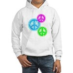 Glowing colorful Peace Signs Hooded Sweatshirt