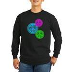 Glowing colorful Peace Signs Long Sleeve Dark T-Sh
