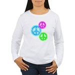 Glowing colorful Peace Signs Women's Long Sleeve T