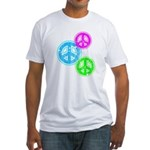 Glowing colorful Peace Signs Fitted T-Shirt