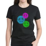 Glowing colorful Peace Signs Women's Dark T-Shirt