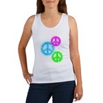 Glowing colorful Peace Signs Women's Tank Top
