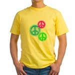 Glowing colorful Peace Signs Yellow T-Shirt