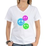 Glowing colorful Peace Signs Women's V-Neck T-Shir