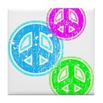 Glowing colorful Peace Signs Tile Coaster