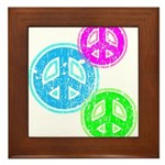 Glowing colorful Peace Signs Framed Tile